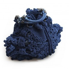 Knitted Dark Blue Handbag