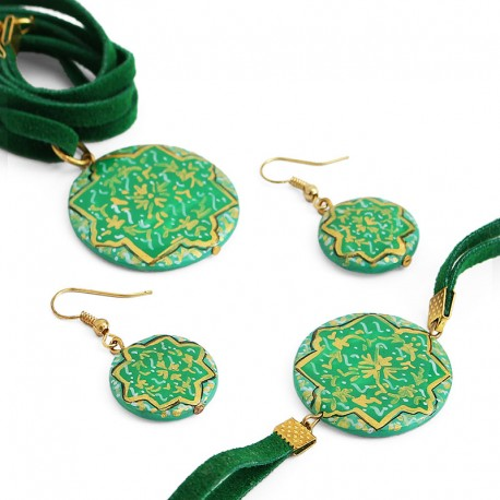 Green Enamel Jewelry Set With Necklace, Bracelet and Earrings (Minakari)