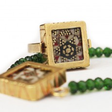 Brass Bracelet and Ring Khatamkari Set