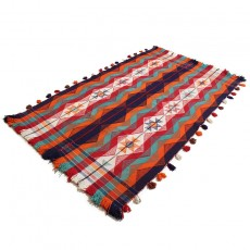 5' X 8' Bohemian Kilim Rug Made of Pure Lamb Wool , Shiraz Jajim , Persian Kilim Area Rug , High Class Bohemian Kilim Rug