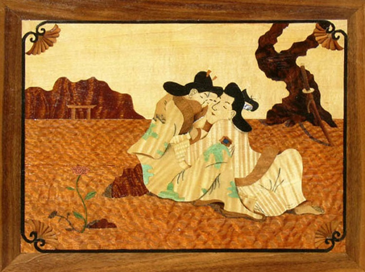 Marquetry Picture of Two Lovers