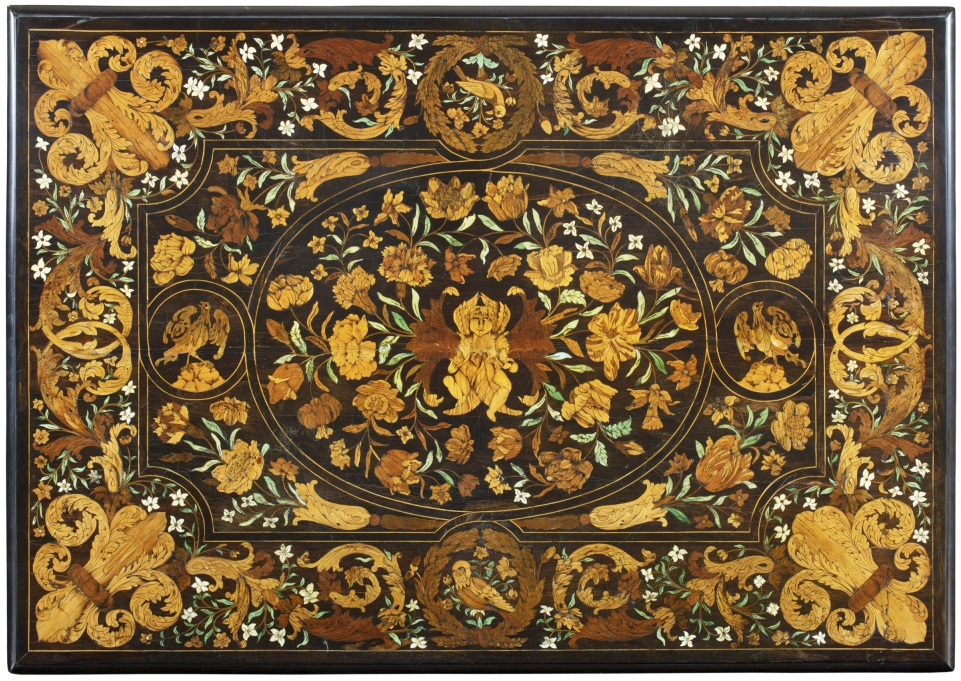 Marquetry table top of a table of 1675 at Ham House, Surrey.